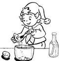Coloriage Oui-Oui fait un gâteau