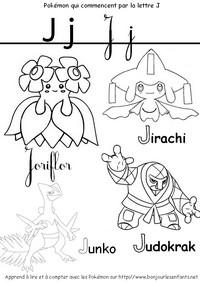 Coloriage Les Pokémon qui commencent par J: Joriflor, Jirachi, Junko...