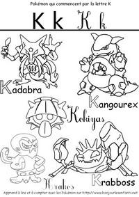 Coloriage Les Pokémon qui commencent par K: Kadabra, Kangourex, Krakos...