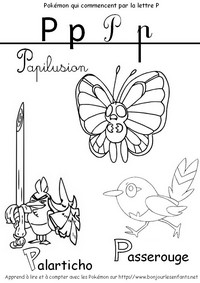 Coloriage Les Pokémon qui commencent par P: Papilusion, Palarticho, Passerouge