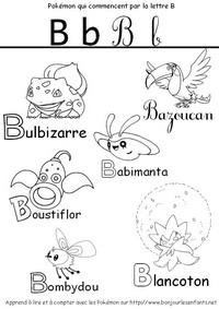 Coloriage Les Pokémon qui commencent par B: Bulbizarre, Bazoucan, Babimonta,...