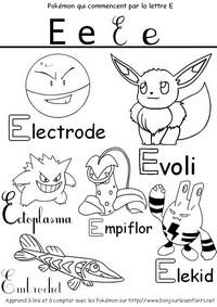Coloriage Les Pokémon qui commencent par E: Electrode, Evoli, Ectoplasma, Elekid,...