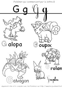 Coloriage Les Pokémon qui commencent par G: Galopa, Goupix, Grolem...