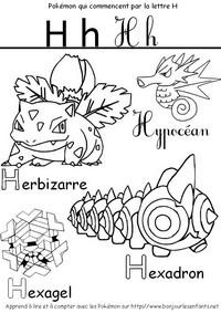 Coloriage Les Pokémon qui commencent par H: Herbizarre, Hexadron, Hypocéan...