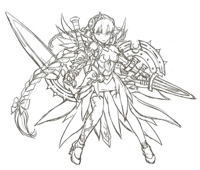 Coloriage Valkyrie - Puzzle and  Dragons