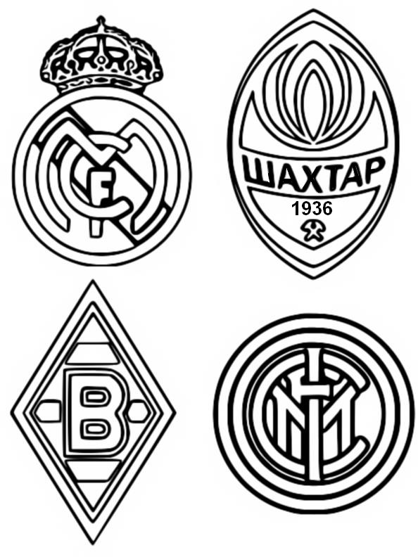 Coloriage Groupe B: Real Madrid - Chakhtar Donetsk - Inter Milan - Borussia Mönchengladbach - Ligue des Champions 2021