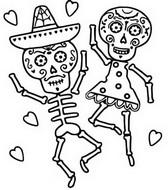 Coloriage Danse des squelettes