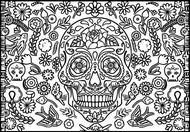 Coloriage Tête de mort, fleurs et oiseaux
