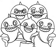 Coloriage Baby Shark et sa famille