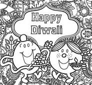 Coloriage M. et Madame fêtent Diwali