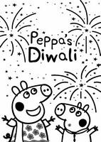 Coloriage Peppa Pig fête Diwali