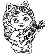 Coloriage Gabby joue de la guitare
