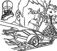 Coloriage Agent Jones & voiture