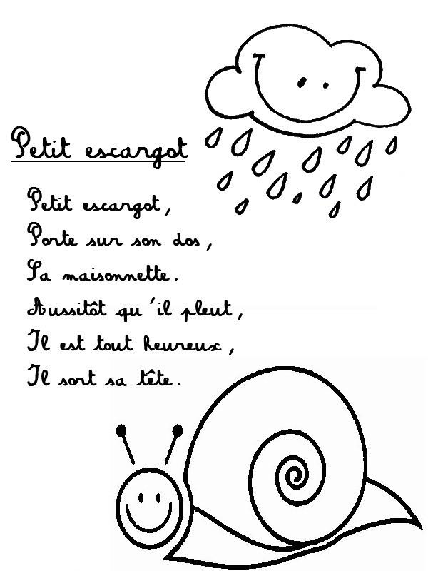 Petit escargot - Parole petit escargot porte sur son dos ...