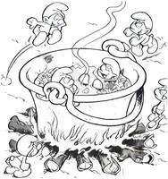 Coloriage La soupe aux Schtroumpfs