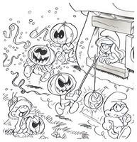 Coloriage Les Schtroumpfs fêtent Halloween