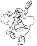 Coloriage Mario et Yoshi