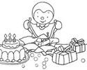 Coloriage T'choupi fête son anniversaire