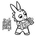Coloriage Trotro joue de l'accordéon