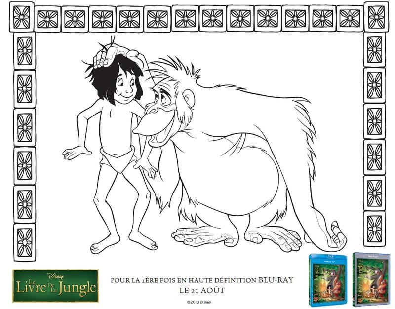 Coloriage Le Livre de la Jungle : Mowgli et le roi Louie 3