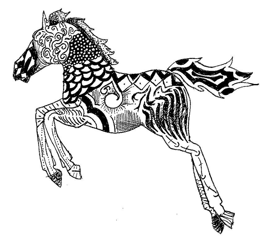 Coloriage chevaux 06 - Mandala de chevaux ...