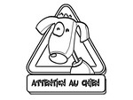 Coloriage Attention au chien