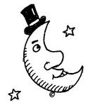 Coloriage Lune avec un chapeau