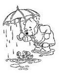 Coloriage Winnie sous la pluie