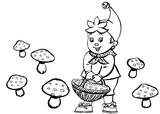 Coloriage Oui-Oui ramasse des champignons
