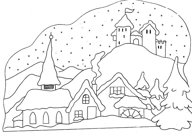 Coloriage Hiver : Village sous la neige 8