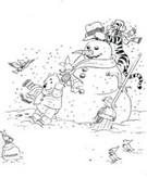 Coloriage Winnie et Tigrou font un bonhomme de neige