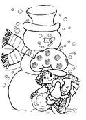 Coloriage Charlotte aux fraises fabrique un bonhomme de neige