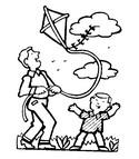 Coloriage Cerf-volant avec Papa