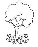 Coloriage Tulipes au pied d'un arbre