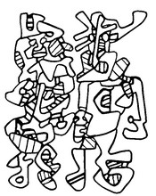 Coloriage Jean Dubuffet: parade nuptiale