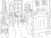Coloriage Van Gogh: La chambre à coucher