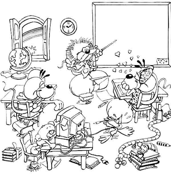 Souvent Coloriage Ecole Fournitures scolaires : Diddl à l'école 7 UI07