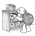 Coloriage Franklin choisit un livre de bibliothèque