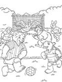 Coloriage Franklin et ses amis jouent au foot