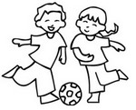 Coloriage Enfants jouant au foot