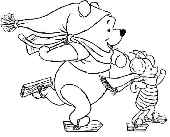 Coloriage sports d 39 hiver winnie l 39 ourson patine 14 - Coloriage d ourson ...