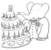 Coloriage Babar et son gâteau d'anniversaire