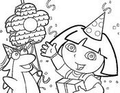 Coloriage Dora fête son anniversaire