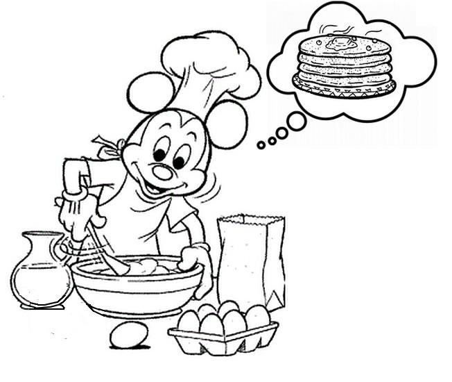 Coloriage Chandeleur Mickey Prepare Des Crepes 2