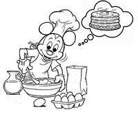 Coloriage Mickey prépare des crêpes