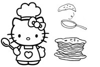 Coloriage Chandeleur Hello Kitty