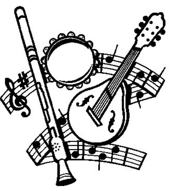 Coloriage fete de la musique instruments de musique 15 - 100 pics solution instrument de musique ...