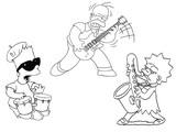 Coloriage Les Simpsons font de la musique