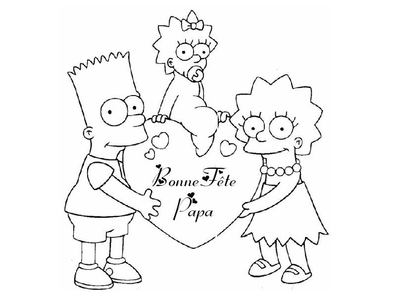 Coloriage Fete des peres : Enfants Simpson 2