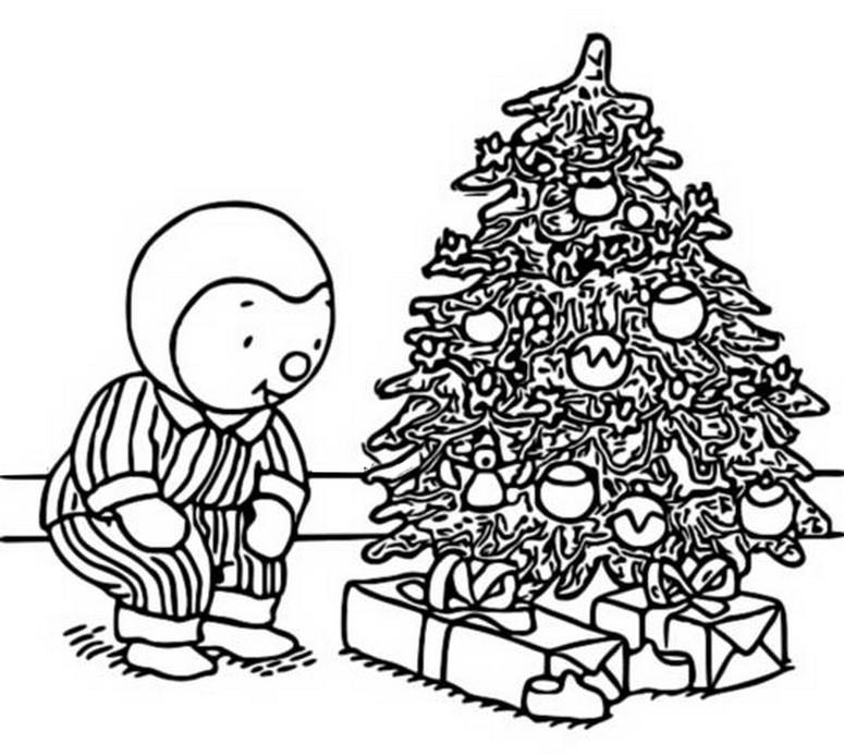 Coloriage Noel : T'choupi trouve ses cadeaux au pied du ...